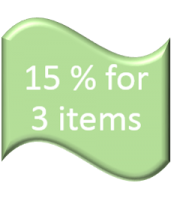 "15% for 3 items : Just type coupon code as ""015"""