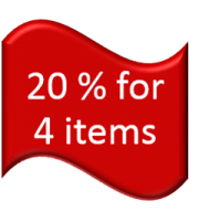 "20% for 4 items  : Just type coupon code as ""020"""